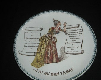 Talking Plate, Theme Plate, French Traditional songs, Terre de Fer, HB et Cie, Antique plate