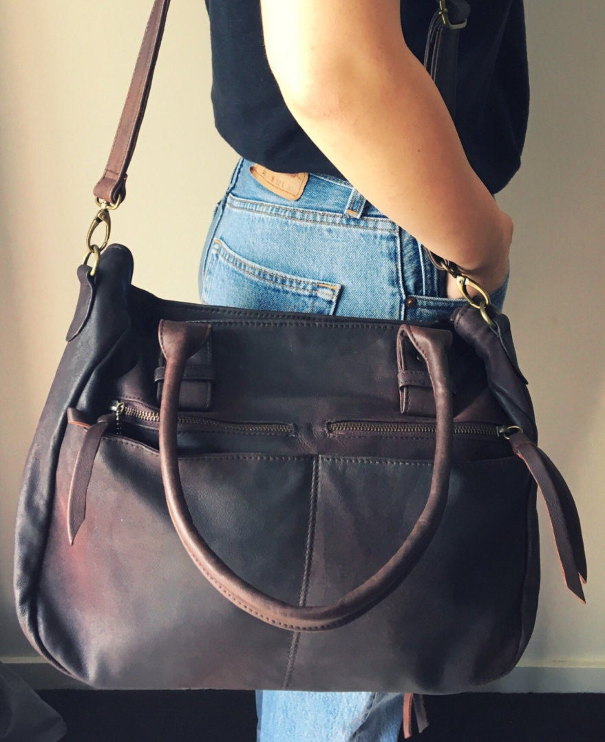 Large leather handmade tote bag. Everyday bag, laptop bag ...