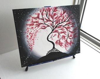 Tree of Life Painting, Moonlight Painting,  Tree of Life, red Moonlight Tree, Nature Art, Moonlight Painting, Wall Art, Wall Painting