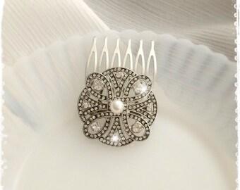 "Art Deco Great Gatsby Inspired Crystal&Swarovski Pearl Hair Comb-Wedding Hair Accessories-Bridal Bridesmaids Small Hair Comb-""CHERYL pearl"""