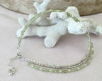 Fine Silver and Peridot Gemstone Bracelet