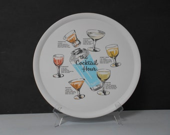 """Melamine 1960's Round Cocktail Tray by """"Hostess"""" Complete with Cocktail Recipies  #10106"""