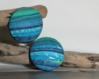 fimo earrings, marine fimo studs - green studs