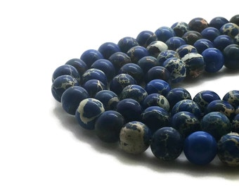 8mm Regalite Beads Dark Blue Round 8mm Regalite 8mm Blue Jasper Aqua Terra Jasper Sea Sediment Jasper Impression Jasper Regalite Blue