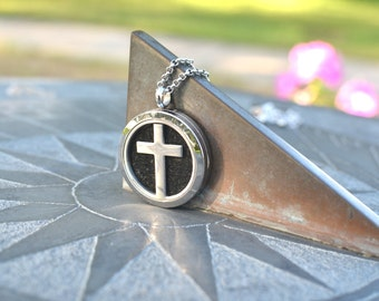 Cross Stainless Steel Necklace, Diffuser Necklace, Aromatherapy Necklace, Womens, Necklace, Girls Necklace, Cross Necklace, Flower