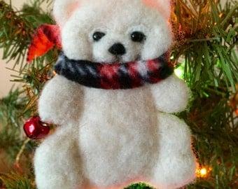 Needle felted bear, felted bear, Christmas ornament, Waldorf toy, stocking stuffer , Christmas bear , felted animal, bear ornament,