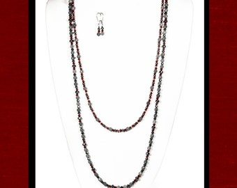 Long Gray Agate, Magnetite & Red Beaded Necklace and Earring Set