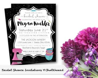 Stock The Kitchen | Bridal Shower Invitation | Rustic | Chalkboard | Gifts  | DIGITAL/ Part 69