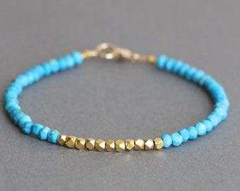Turquoise Bracelet Gold Bracelet Gemstone Bracelet Stacking Bracelet December Birthstone
