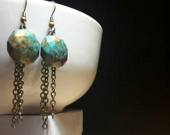 Dangling bronze earrings