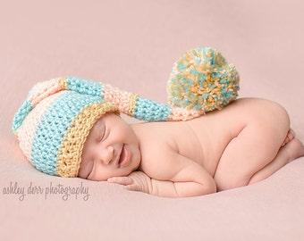 Long Tail Hat, Elf Hat, Newborn Photo Prop, Crochet Newborn Hat, Newborn Elf Hat, Baby Girl Hat, Baby Newborn Hat, Baby Hat, Newborn Hat