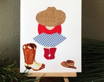Cowgirl birthday invitation,handmade recycled fabric greeting card,cowgirl party,cowgirl invitation,rodeo birthday card,cowgirl birthday,5x7