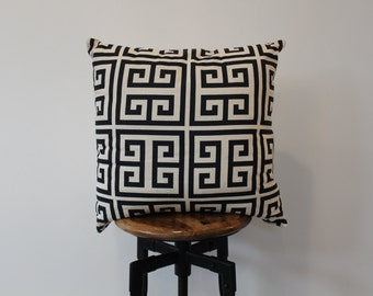 Greek Key Decorative Pillow-Navy & Natural