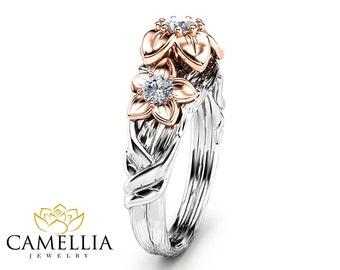 Three Stone Natural Diamonds Engagement Ring Inspired by Nature Branch Ring in 14K Two Tone Gold Flower Design Ring