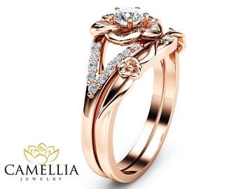 14K Rose Gold Engagement Ring Set Natural Diamond Rings Flower Rose Gold Rings Unique Engagement Rings