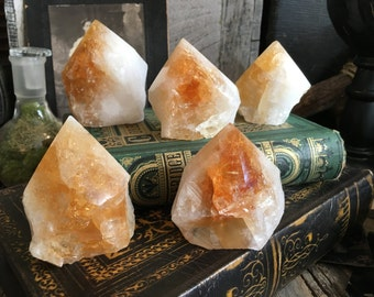 Citrine Point Large Crystal Point , Raw Citrine Polished Top , Standing Crystal Point Healing Crystals stones Yellow Crystal Bohemian Gift