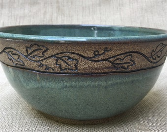 Green Cereal Bowl with Carved Vines, Carved Bowl, Ceramic Bowl, Handmade Bowl