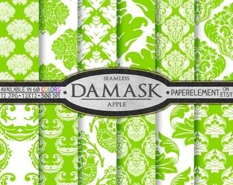 Apple Green Damask Digital Paper Pack - Printable Digital Green Backgrounds - Instant Download Bright Green Damask Scrapbooking Paper