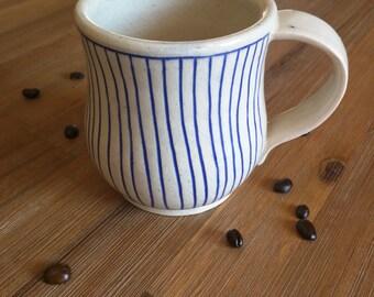 Blue and White Striped Handmade Ceramic Mug