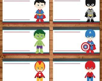 Superhero Food Tent Labels -- Superhero Placecards -- Superhero Birthday - Superhero Birthday Party - Superhero Party Favors