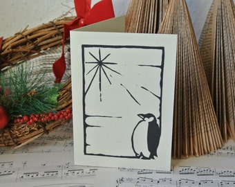 Penguin rustic handprinted Christmas card