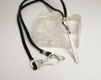 Silver and Leather Necklace, Silver Leather Pendant, Necklace for Men