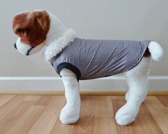 Dog Rain Coat Black Gingham Check for small breeds