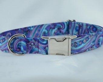Purple & Blue Paisley - Buckle or Martingale Dog Collar, Personalized, Engraved, ID Buckle