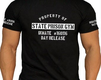 Quality Men's State Prison Gym Black Cotton T-shirt. 3 Print Options. Motivation Bodybuilding Weightlifting Gym Workout.