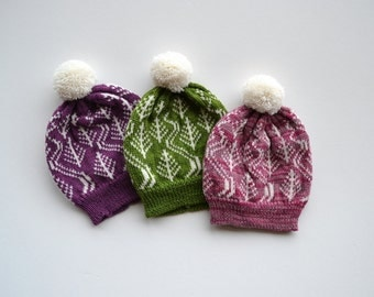 Baby Hat with Trees and Ski Tracks