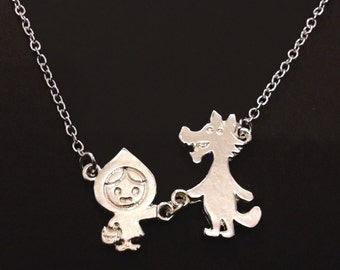 Little Red Riding Hood & The Big Bad Wolf Dainty Necklace~Fairy Tale~Silver Plated Stylish Minimalist Jewelry~Birthday Present~Cute Gift