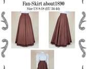 Edwardianischer Rock (Fan-Skirt) um 1890 Schnittmuster #0414 Größe EU 34-56 PDF Download