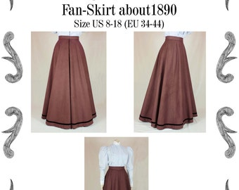 Edwardian Skirt (Fan-Skirt) worn about 1890 Sewing Pattern #0414 Size US 8-30 (EU 34-56) PDF Download