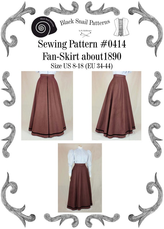 1900-1910s Clothing Edwardian Skirt (Fan-Skirt) worn about 1890 Sewing Pattern #0414 Size US 8-30 (EU 34-56) PDF Download  AT vintagedancer.com