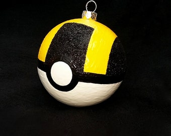 One Hand-Painted Ultra Ball Pokeball Pokemon Inspired Christmas Ornament! Customizable! Available in 4 sizes!