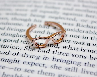 Rose Gold Glasses Ring / Librarian Bookworm Geek Reading Spectacles Jewellery / Gold Silver Copper / Adjustable