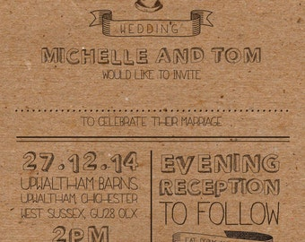 SAMPLE Christmas Country Vintage Wedding Invitations!