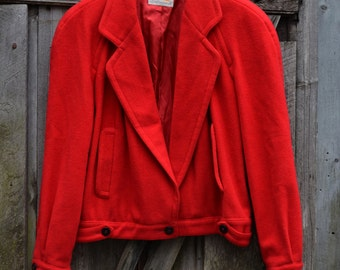 Red 1980s Wool Cropped Jacket
