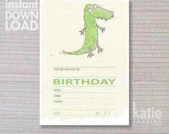 instant invitation -  kids invitation - dinosaur invitation - dinosaur - childrens invitation