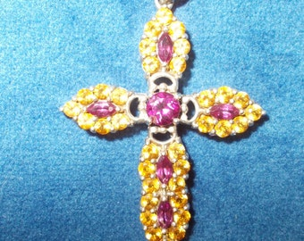 Genuine sterling silver rose/pink and yellow tourmaline cross with 20 inch steel chain
