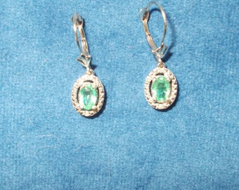 Genuine translucent Emerald, Diamond and solid 14K white gold earrings