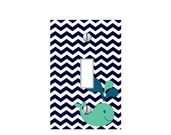 Ocean Whale Nautical Blue Chevron Home Decor sea animals kids room Nursery LIGHT SWITCH PLATE Cover outlets multi toggle sizes bathroom Art