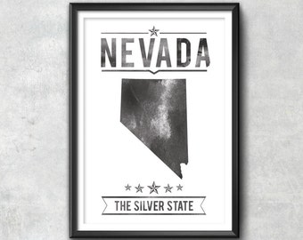 NEVADA State Typography Print, Typography Poster, Nevada Poster, Nevada Art, Nevada Gift, Nevada Decor, Nevada Print, Nevada Gift, Nevada
