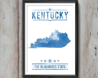 Kentucky State Typography Print, Typography Poster, Kentucky Poster, Kentucky Art, Kentucky Gift, Kentucky Decor, Kentucky Print, Kentucky