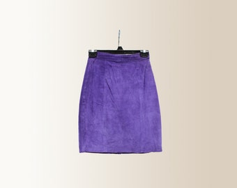 Vintage 90s 80s Purple Genuine Suede High Waisted Pencil Skirt by Global Identity Size 3 / 4 Small