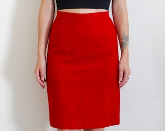 Vintage 1980's Red Pencil Skirt / Isaac Hazan / Wool / High Waisted / 80s Clothing