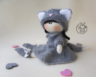 Doll lady-cat - knitting pattern (knitted round).Doll pattern.Amigurumi Doll. Lady-cat