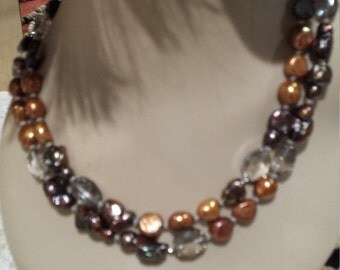 Two strand fresh water pearls necklace