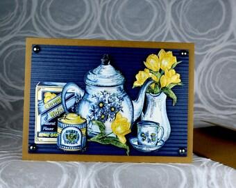 Teapot 3D Greeting Card, tea party, tea set, tea time