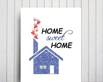 blue glitter wall decor home sweet home art printable poster home ...